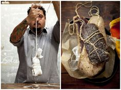 Chef Roberto Leoci making duck prosciutto. Photography by Chia Chong, Styled by Libbie Summers.