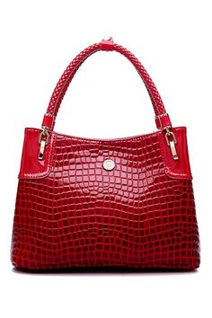 "Glamour| "" Pinnable"" Shop ROMWE | ROMWE Crocodile Red Tote, The Latest Street Fashion"