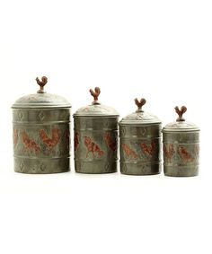 Take a look at this Gray & Brown Rooster Canister Set by Old Dutch International on #zulily today!