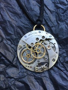 SOLD Steampunk New York Antique Pocket Watch by RetroHippieUnlimited