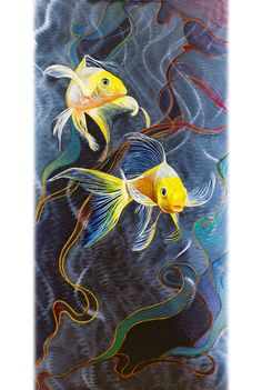 Abstract Print on Aluminum. Fine Art Print, Koi Fish ART on Metal, Yellow, Blue, Green, Stainless Steal Original Artwork. Dancing Waters is one of my new paintings. Originally painted with oil on distressed metal, Iam now offering it as a aluminum print. I have recently combined my two great loves in life. Oil paints and metal. This is the result! As the light reflects of the metal it gives a 3D effect as if the fish is swimming though water of light. This effect comes through in the print…
