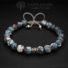 Valentines Day Gift, Bracelet For Men, Jasper Bracelet, Silver Spacer Bead , Adjustable Beaded Bracelet - Unisex Bracelet, Mothers Day Gift by JuniperandEloise on Etsy