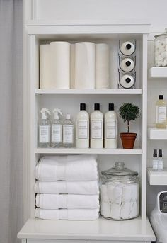 Who says wine holders are just for wining and dining? The Laundress uses the stackable Fridge Binz Wine Holder to efficiently and vertically hold extra bottles of The Laundress Signature Detergent! Linen Closet Organization, Home Organisation, Laundry Room Storage, Small Storage, Diy Storage, Storage Ideas, Small Shelves, Room Shelves, Small Washing Machine