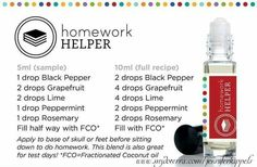 Homework helper essential oil blend.... need to stay focus and on task with school work... doterra... please visit: www.mydoterra.com/jenniferkippels 5 ml roller bottle or 10ml roller bottle using black pepper, grapefruit, lime, peppermint, rosemary and topped off with fractionated coconut oil. stay focused.  contact me with any questions that you might have.