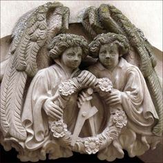 Twin angels at Heidelberg Castle Stained Glass Angel, I Believe In Angels, Sculpture, Creative Photos, Gravure, Germany Travel, Architecture Details, Castle, Statue