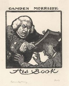 Sir Lionel Lindsay (1874-1961), Australian / bookplate for Camden Morrisby .... depicts man in 18th century clothing hitting another over the head with a book, design from NLA collection