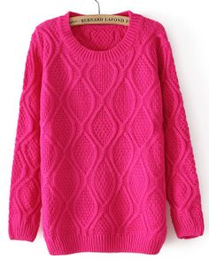 Rose Red Long Sleeve Diamond Patterned Pullover Sweater - Sheinside.com $31
