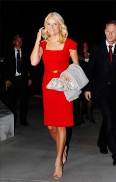 Knockout red dress from Norwegian Crown Princess Mette-Marit.