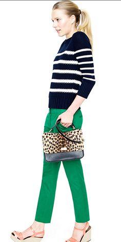 Love this look. jcrew.com #stripes #animalprint