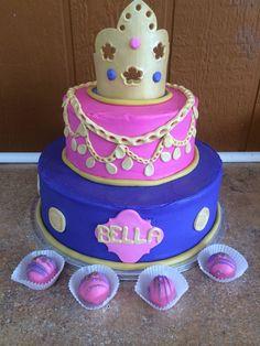 Birthday cake with handmade crown and matching cake balls