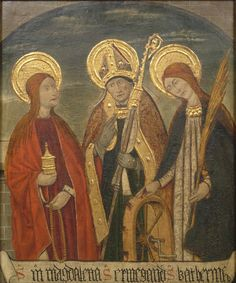 """Saints Mary Magdalene, Ermengold, and Catherine of Alexandria"" Panel from an altarpiece once in Veyn, near Sort, Spain. Pere Espalargues (Pere Espalargucs), Spanish (active Lérida), documented 1490 Geography: Made in Spain, Europe Date: 1490 Medium: Oil and tooled gold on panel Dimensions: 26 3/4 x 22 inches (67.9 x 55.9 cm) Philadelphia Museum of Art"