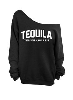 Slouchy Oversized Sweater - Tequila - The rest is always a blur - Black