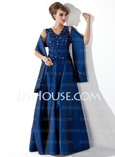 Love it! - white dress - black sash $132.29 - A-Line/Princess V-neck Floor-Length Taffe Dress With Lace Beading Sequins (008013955) http://jjshouse.com/A-Line-Princess-V-Neck-Floor-Length-Taffeta-Mother-Of-The-Bride-Dress-With-Lace-Beading-Sequins-008013955-g13955