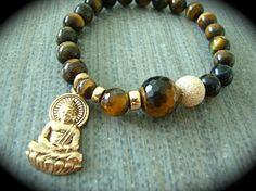 Yogi Bead Tigereye Varied Stone Bracelet With Oversized Praying Buddha