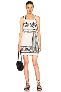NWT SUNO IVORY FLORAL EMBROIDERED COTTON BELTED DRESS (EFFORTLESSLY BOHO) 8 / 10 #SUNO #DRESS