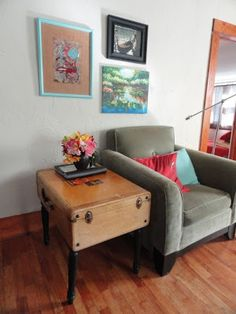 Great DIY! Add legs to a vintage suitcase and use as a side table in hubby's man cave