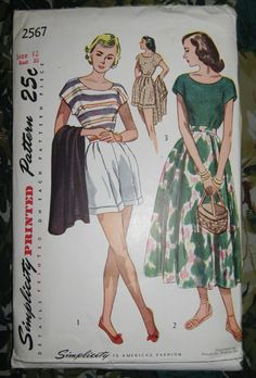 Summer Picnic - Vintage 1948 Simplicity 2567 Playsuit Pattern - Shorts, Skirt, and Blouse - Bust 30