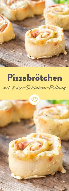 Füllung rein, glücklich sein – Pizzabrötchen mit Käse und Schinken Pizza fun for small and big: Handmade pizza rolls, filled with melting Gouda and ham – much better than the pizza guy around the corner. Pizza Snacks, Party Snacks, Appetizers For Party, Pizza Recipes, Grilling Recipes, Snacks Recipes, Ham Pizza, Pizza Rolls, Pizza Cheese