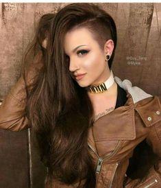 new hair is chocolate brown and we added BELLAMI Hair hair weave in shad. new hair Long Weave Hairstyles, Shaved Side Hairstyles, Undercut Hairstyles, Cool Hairstyles, Edgy Long Haircuts, Shaved Long Hair, Half Shaved Head, Mode Punk Rock, Undercut Long Hair