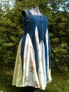 Twirly Jean Dress  UpCycled  XL by askewasyou on Etsy, $54.00