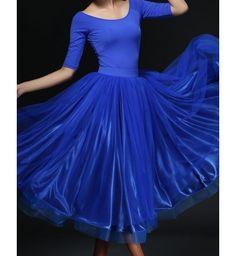 Women's Fuchsia blue red ladies female sexy middle long sleeves ballroom waltz…