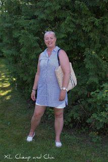 XL Cheap & Chic: Sinivalkoraidallinen paitamekko - Blue/white strip...