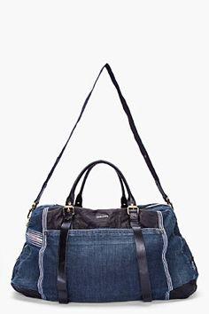 DIESEL Dark Denim and Leather Duffle Bag