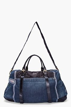 DIESEL Dark Denim and Leather Duffle Bag