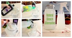 A Natural Bleach Alternative - 12 cups water, 1/4 cup lemon juice, 1 cup hydrogen peroxide