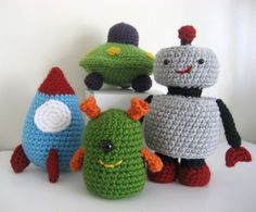 PDF Amigurumi Robots, Rockets and UFO's Crochet Pattern Set. Perfect for T's room!