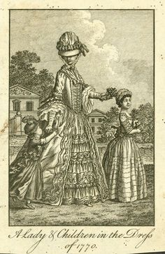 Fashion plate, 'A Lady & Children in the Dress of - MAAS Collection 18th Century Clothing, 18th Century Fashion, Historical Clothing, Women's Clothing, Princess Costumes, Haute Couture Fashion, Fashion Plates, Cool Style, Female Fashion