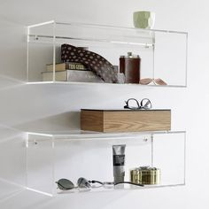 5 Ways To Use Acrylic Decor Throughout Your House // Bathroom - These clear acrylic shelves make your essentials appear to float. Cube Shelves, Wall Mounted Shelves, Storage Shelves, Floating Shelves, Storage Boxes, Shelf Wall, Glass Shelves, Acrylic Furniture, Space Furniture