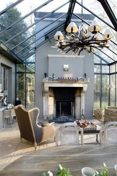 Winter garden in steel 6 with fireplace - realizations - Waver-Construct bvba - Winter garden in steel 6 with fireplace – realizations – Waver-Construct bvba - Outdoor Rooms, Outdoor Living, Patio House Ideas, Extension Veranda, Home Greenhouse, Enclosed Patio, Marquise, Glass House, House Rooms