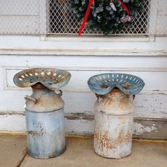 Antique stools made from old milk can and tractor seat.