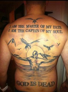 I like the top part of the tattoo. I don't like the crucifixion or the God is dead pieces