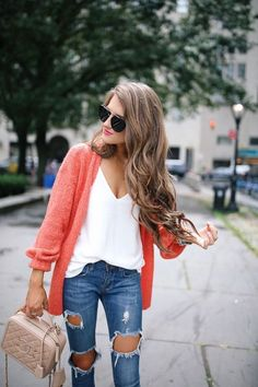 CORAL CARDIGAN | WHITE TOP | DISTRESSED JEANS