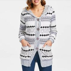 Wipalo Autumn Winter Women Women Hooded Sweaters Button Up Geometric Cardigan Fashion Long Hooded Sweaters 2019 New Cheap Sweaters, Long Sweaters, Sweaters For Women, Sweaters Knitted, Oversized Sweaters, Vestidos Vintage, Hooded Cardigan, Cardigan Fashion, Collar Styles
