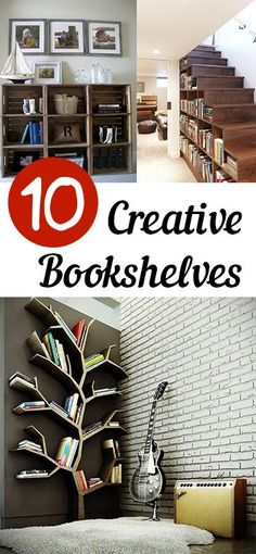 10 Creative Bookshelves. DIY, DIY home projects, home décor, home, dream home, DIY. projects, home improvement, inexpensive home improvement, cheap home DIY.