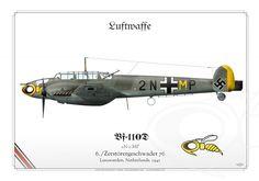 Messerschmitt Bf 110D 2N+MP 6./Zerstörergeschwader 76 Leeuwarden, Netherlands. 1941 https://www.aviationgraphic