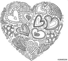 Heart of Hearts Coloring Pages Heart Coloring Pages, Mandala Coloring Pages, Free Coloring Pages, Coloring Books, Doodle Patterns, Zentangle Patterns, Heart Patterns, Embroidery Patterns, Zentangles