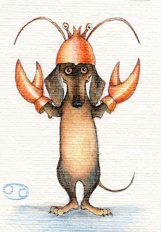 "Photo from album ""Веселый гороскоп on Yandex. Dachshund Drawing, Dachshund Gifts, Mini Dachshund, Daschund, Dachshund Zeichnung, Dog Illustration, Illustrations, Vintage Dachshund, Delphine"