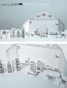 Printable paper nativity scene.