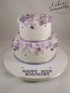 2 tier Birthday Cake with Purple flowers - Birthday Cake Easy Ideen 2 Tier Birthday Cakes, Birthday Cake For Mom, Birthday Party Snacks, Birthday Cake With Flowers, Birthday Cupcakes, Purple Cakes, Mom Cake, Mothers Day Cake, Floral Cake