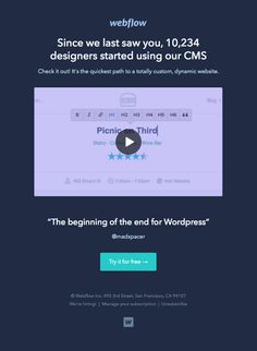 Webflow sent this email with the subject line: Miss you - I love an email that shows me some compelling statistics and a dream or a vision about what they believe. It's very engaging. The typography and bold colors in this design are outstanding. Read about this email and find more app emails at ReallyGoodEmails.com #app #retention