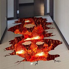 Quanhaigou Creative Space Wall Decals Removable PVC Magic Floor Flame and Lava Wall Stickers Murals Wallpaper Art Decor for Home Walls Ceiling Boys Room Kids Bedroom Nursery School