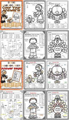 Thanksgiving Fun! Basic Addition Facts - Color Your Answers Printables FIVE No Prep Printables that can be used for your math center, small group, RTI pull out, seat work or homework. #TPT $Paid #FREE download to try before you buy at this listing.