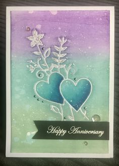 Inlay die-cut with Distress Oxide Background and Copic highlights Simon Says Stamp – LOVE BOUQUET Wafer Dies Handmade anniversary card . Happy Anniversary, Anniversary Cards, Distress Oxides, Simon Says Stamp, Copic, Graphic Design Inspiration, Wedding Engagement, Card Ideas, Appreciation