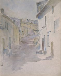 Theodore Robinson Village Street, Antibes, ca. 1891 Watercolor on paper, 90 x 7 inches Theodore Robinson, Antibes, Impressionism, Watercolor, Street, Paper, Artwork, Painting, Pen And Wash