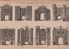 City Gates As They Appeared Before They Were Torn Down, engraved for Harrison's History of London 1775 Victorian London, Vintage London, Old London, London History, British History, London Drawing, Old Gates, Tear Down, London Photos