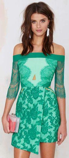Spring Green Lace Embellished Dress